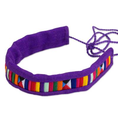 Multicolored Fabric Bracelet with Hill Tribe Motifs