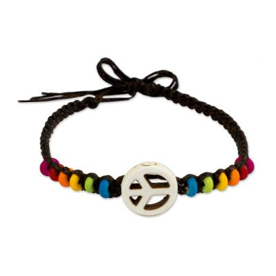 Peace and Love Sign with Multicolored Beads Bracelet