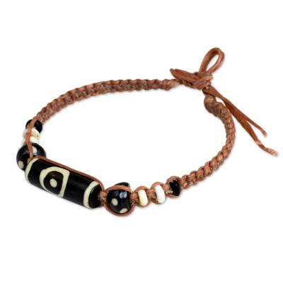 Cow bone beaded bracelet, 'Tan Tribal Enigma' - Tan Braided Bracelet with Cow Bone Beads from Thailand