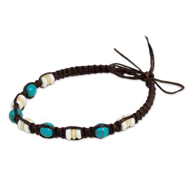 Dark Brown Wristband Bracelet with Bone and Calcite Beads