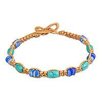 Calcite wristband bracelet, 'Tribal Celebrity' - Tan Brown Wristband Bracelet with Turquoise Color Calcite
