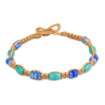 Tan Brown Wristband Bracelet with Turquoise Color Calcite
