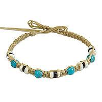 Calcite wristband bracelet, 'Tribal Celebration' - Light Brown Wristband Bracelet with Turquoise Color Calcite