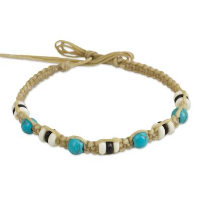 Light Brown Wristband Bracelet with Turquoise Color Calcite