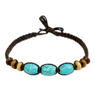 Calcite wristband bracelet, 'Forest Friend' - Artisan Crafted Beaded Bracelet with Calcite and Wood Beads
