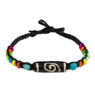 Artisan Crafted Braided Bracelet with Multicolor Beads
