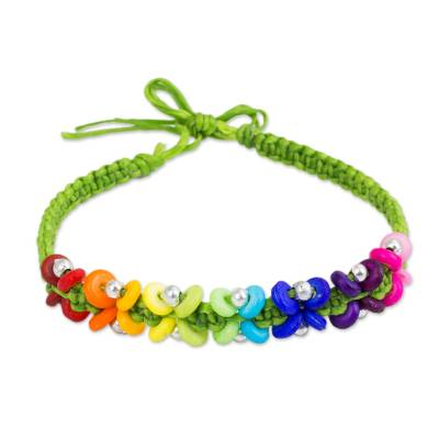 Rainbow Color Beads on Hand Crafted Green Bracelet