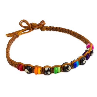 Rainbow Beads and Cow Bone Handmade Bracelet