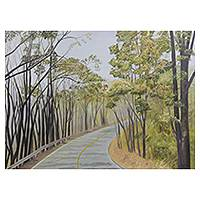 'Forest in Winter IV' - Thai Artist Original Painting of Lonely Road Scene