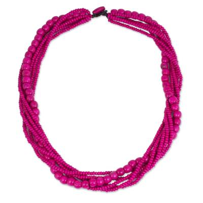 Fair Trade Long Wood Beaded Hot Pink Strand Necklace