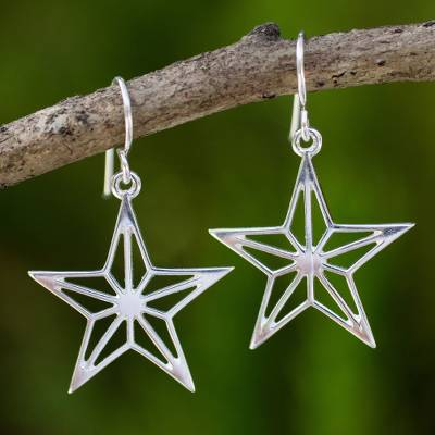 Sterling silver dangle earrings, 'Radiant Star' - Artisan Crafted Sterling Silver Star Theme Thai Earrings