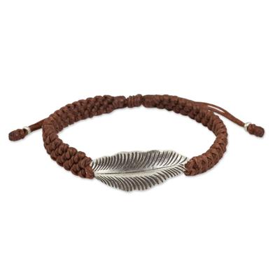Antiqued Silver Leaf on Brown Wristband Bracelet