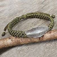 Silver wristband bracelet, 'Green Hill Tribe Dream' - Green Wristband Bracelet with Silver Hill Tribe Leaf