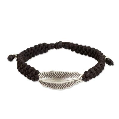 Silver wristband bracelet, 'Dark Brown Hill Tribe Dream' - Dark Brown Wristband Bracelet with Silver Hill Tribe Leaf
