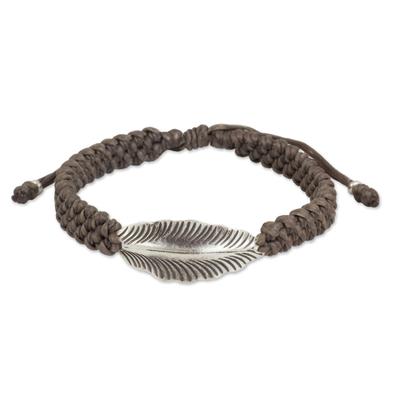 Antiqued Silver Leaf on Khaki Wristband Bracelet