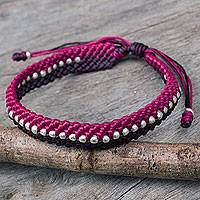 Silver accent wristband bracelet, 'Brown and Fuchsia Knots' - Hand Knotted Macrame Bracelet with Hill Tribe Silver Beads