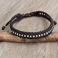 Silver accent wristband bracelet, 'Dark Brown Knots' - Hand Knotted Macrame Bracelet with Hill Tribe Silver Beads