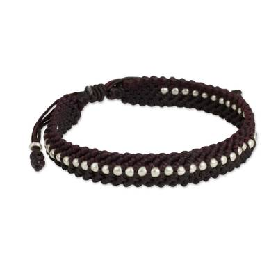 Maroon and Brown Macrame Bracelet with Hill Tribe Silver