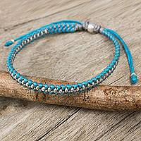 Silver accent braided bracelet, 'Blue Grey Progression'