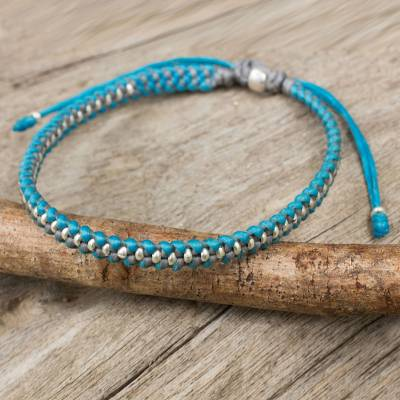 Silver accent braided bracelet, 'Blue Grey Progression' - Hand Knotted Macrame Bracelet with Hill Tribe Silver Beads