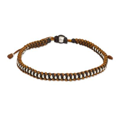 Silver Beads on Brown and Tan Wristband Bracelet