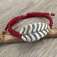 Silver wristband bracelet, 'Turn a New Red Leaf' - Silver Hill Tribe Jewelry Leaf Design in Red Cord Bracelet