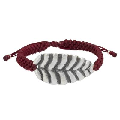 Silver Hill Tribe Jewelry Leaf Design in Red Cord Bracelet