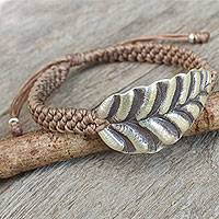 Silver wristband bracelet, 'Turn a New Khaki Leaf'