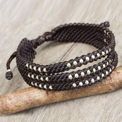 Silver accent wristband bracelet, 'Starlight and Espresso' - Silver 950 Beads in Dark Brown Macrame Wristband Bracelet