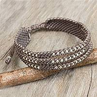 Silver accent wristband bracelet, 'Starlight and Khaki' - Wristband Bracelet in Macrame with Silver 950 Beads