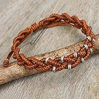 Silver accent wristband bracelet, 'Russet Hill Tribe Bride' - Russet Brown Braided Macrame Bracelet with Silver