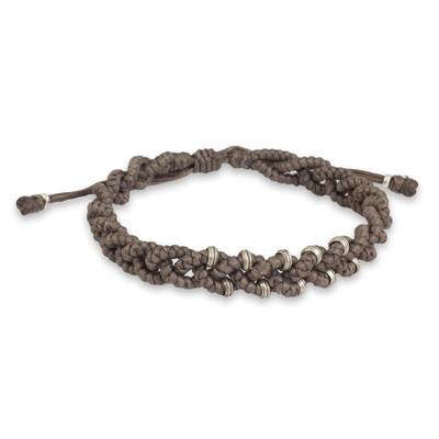 Grey Braided Macrame Bracelet with Karen Tribe Silver