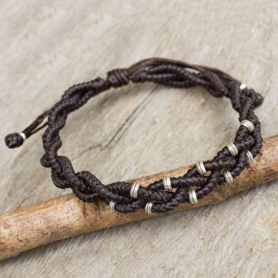 Silver accent wristband bracelet, 'Brown Hill Tribe Bride' - Braided Macrame Bracelet in Espresso Brown with Silver 950