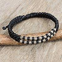 Silver accent wristband bracelet, 'Black Infinity Twins' - Thai Macrame Black Wristband Bracelet with Silver 950 Beads