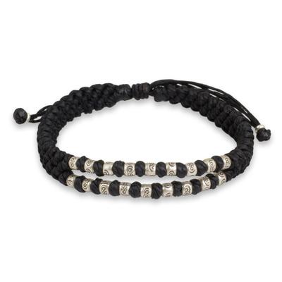 Thai Macrame Black Wristband Bracelet with Silver 950 Beads