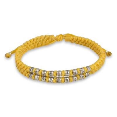 Hand Knotted Yellow Thai Wristband Bracelet with Silver 950