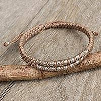 Silver accent wristband bracelet, 'Khaki Infinity Twins' - Hill Tribe Silver on a Thai Hand Knotted Wristband Bracelet