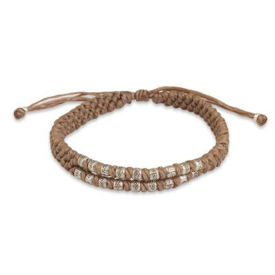 Hill Tribe Silver on a Thai Hand Knotted Wristband Bracelet