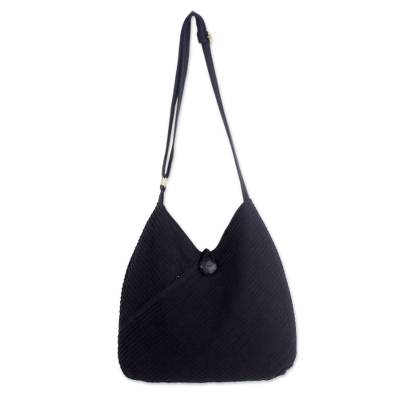 Cotton hobo bag with coin purse, 'Surreal Black' - Cotton Hobo Shoulder Bag with Coin Purse and Multi Pockets