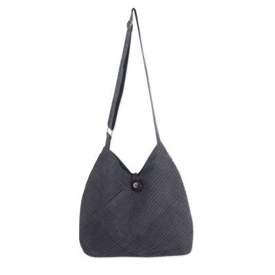 Cotton hobo bag with coin purse, 'Surreal Grey' - Grey Hobo Shoulder Bag with Coin Purse and Multi Pockets