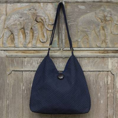 Cotton hobo bag with coin purse, 'Surreal Blue' - Navy Blue Cotton Hobo Bag with Coin Purse and Multi Pockets
