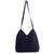 Cotton hobo bag with coin purse, 'Surreal Blue' - Navy Blue Cotton Hobo Bag with Coin Purse and Multi Pockets thumbail