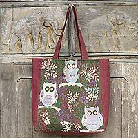 Cotton blend tote bag, 'Playful Owls' - Thai Owls Cotton Blend Tote Shoulder Bag in Brown