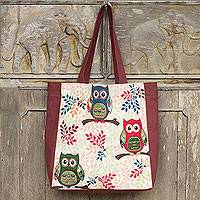 Cotton blend tote bag, 'Playful Owls' (large) - Forest Owls Cotton Blend Tote Bag in White and Brown (Large)
