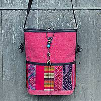 Cotton and leather accent shoulder bag, 'Thai Strawberry Horizon' - Cotton with Leather Accent Shoulder Bag with Beads