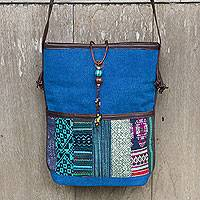 Cotton and leather accent shoulder bag, 'Thai Azure Horizon' - Cotton with Leather Accent Shoulder Bag with Hill Tribe Art