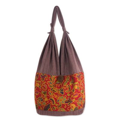 Novica Cotton handbag, Cheery Night