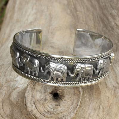 Sterling silver cuff bracelet, 'Grand Elephant Parade' - Artisan Crafted Sterling Silver Elephant Cuff Bracelet