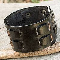 Men's leather wristband bracelet, 'Rugged Weave in Black'