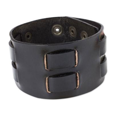 Black Leather Wristband Bracelet for Men Artisan Jewelry